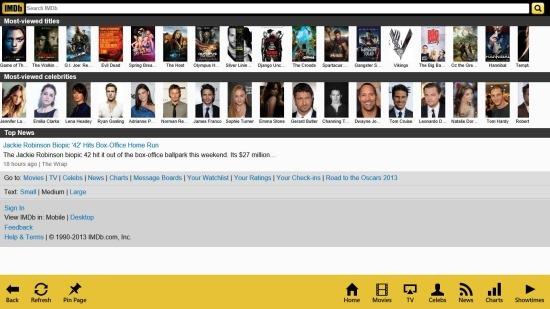 IMDB App For Windows 8