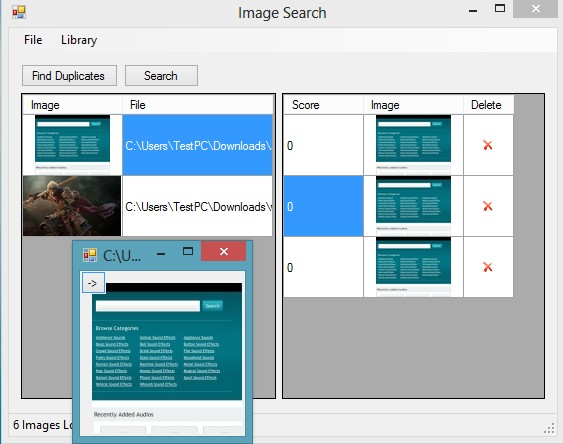 Image Duplicates Search opened images