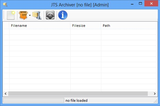 JTS Archiver default window
