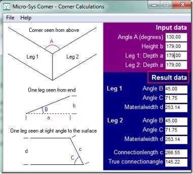 Micro-Sys Corner 01 geometry calculator