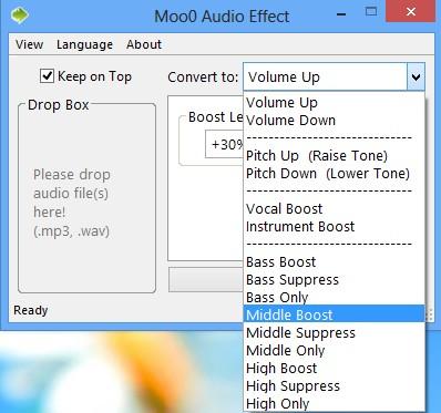 Moo0 Audio Effect selecting effect