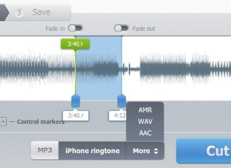 Online Audio Cutter setting markers