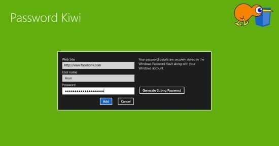 Password Kiwi start screen