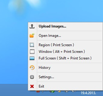 Postimage system tray icon