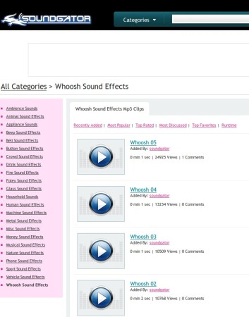 SoundGator categories effect