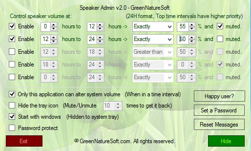 Speaker Admin settings