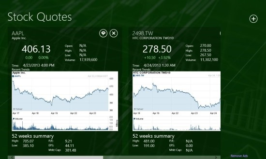 Stock Quotes App For Windows 8