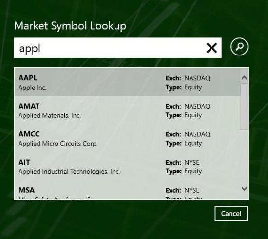 Stock Quotes App Windows 8