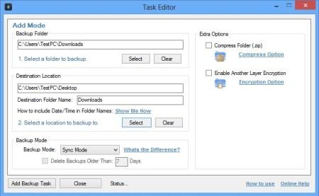 Synei Backup Manager adding task