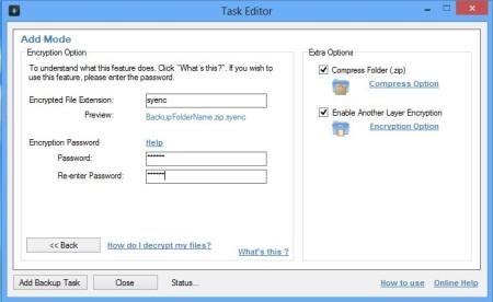 Synei Backup Manager encryption