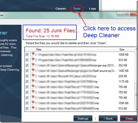 Synei Disk Cleaner 04 remove junk files