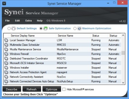 Synei Service Manager default window