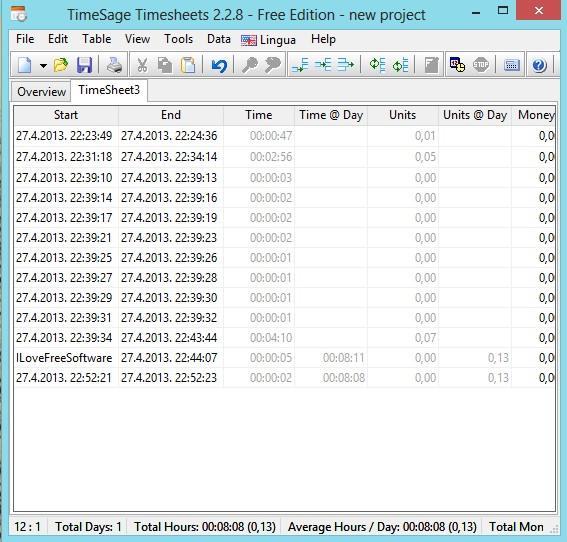 TimeSage Timesheets adding entries