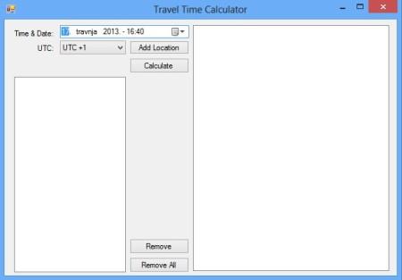 Travel Time Calculator default window