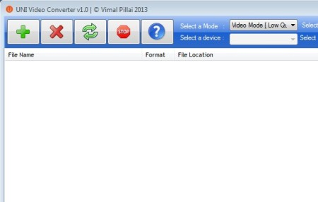 UNI Video Converter default window