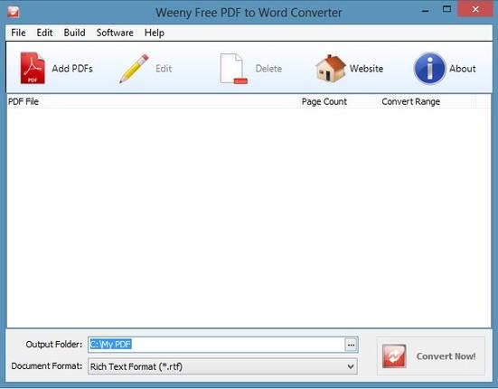 Weeny Free PDF To Word Converter default window