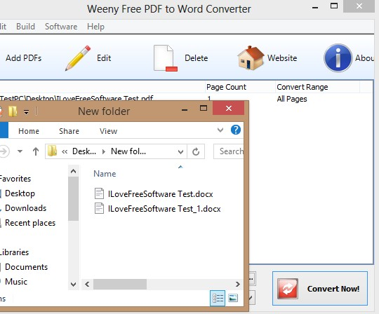 Weeny Free PDF To Word Converter finished