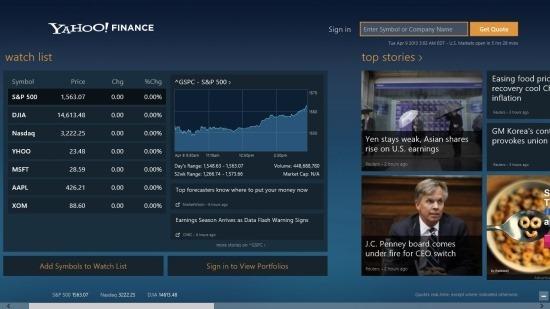 Yahoo! Finance App For Windows 8