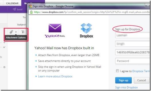 Yahoo Mail integrated Dropbox 01