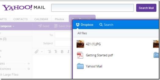 Yahoo Mail integrated Dropbox 02