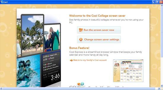 cozi collage screensaver interface