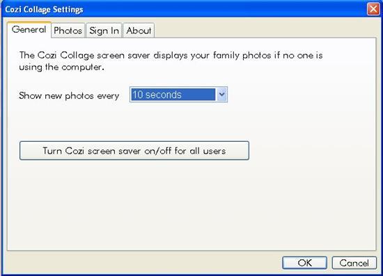 cozi collage screensaver settings