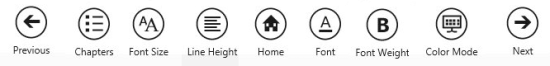 epub reader option menu