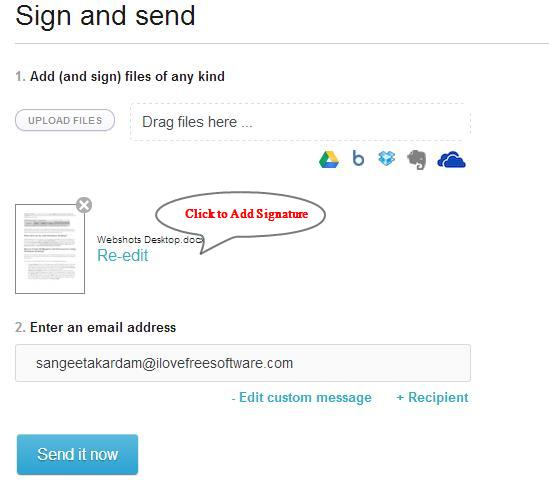 hellosign sign and send