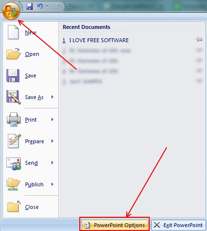 liveWeb powerpoint options