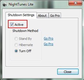nighttunes turn off activate