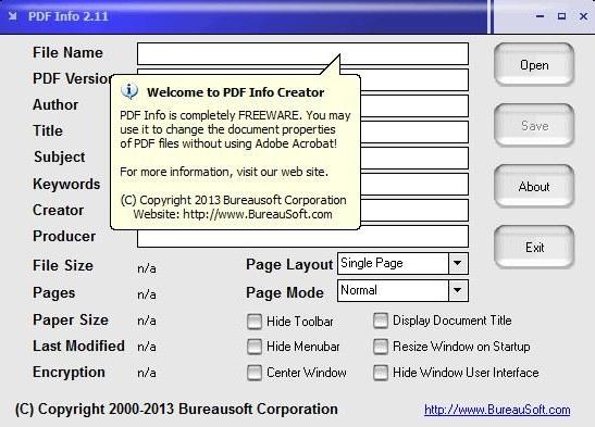 pdf info interface