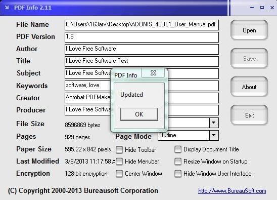 pdf info metadat modification