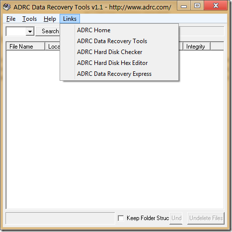 ADRC Links menu