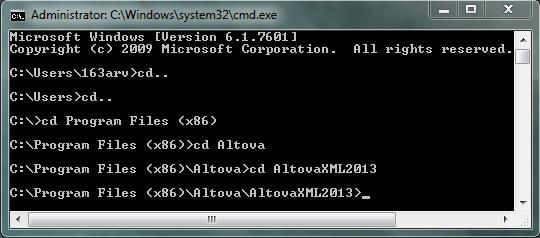 AltovaXML communitu edition command prompt