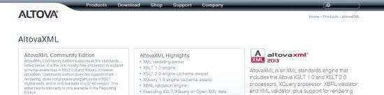 AltovaXML communitu edition interface