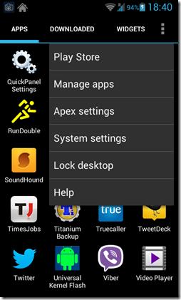 Apex launcher apps screen