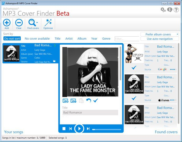 Ashampoo MP3 Cover Finder default window