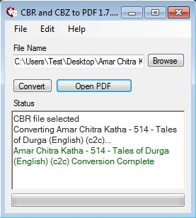 CBR and CBZ To PDF convert complete