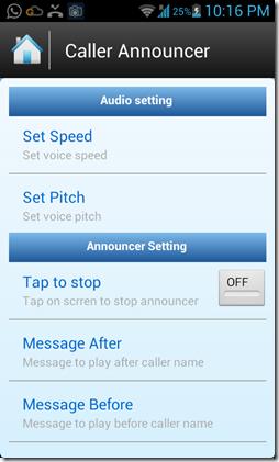Caller name announcer setting