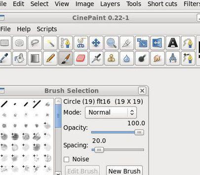 CinePaint toolbox brush selection