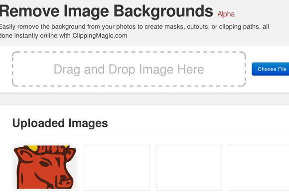 ClippingMagic uploading image