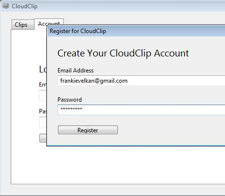 CloudClip creating account