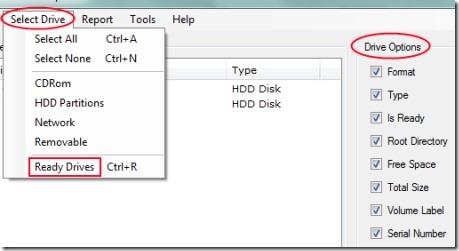 Exsense DiskReporter 02 get hard drive information