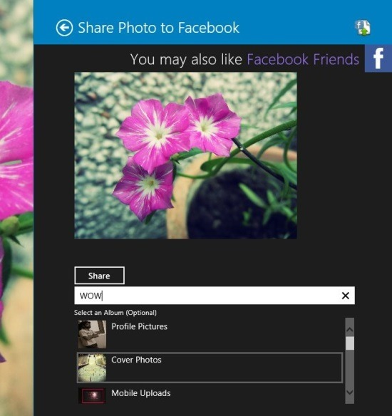 How Share Photo To Facebook In Windows 8