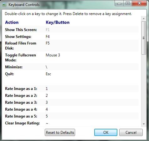 Keyboard Image Viewer keyboard controls