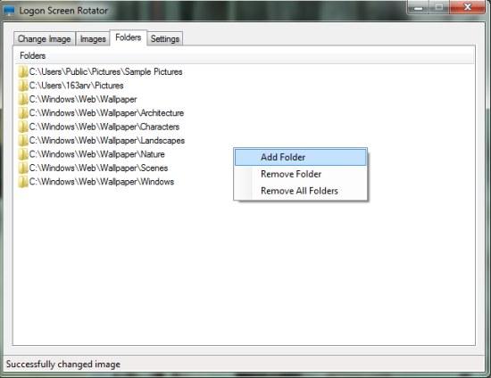 Logon Screen Rotator add folder