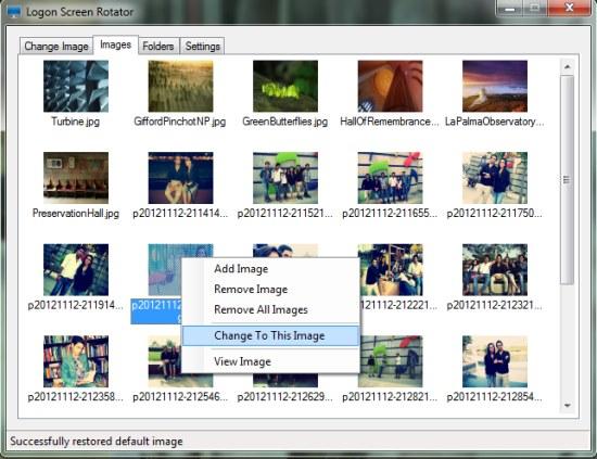 Logon Screen Rotator images tab