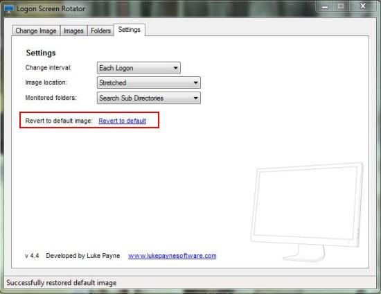 Logon Screen Rotator settings