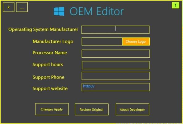Free OEM Information Editor For Windows 7, 8: OEM Editor