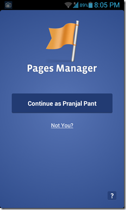 Pages manager login page
